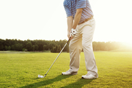 Low section of man playing golf on field - CAVF00666
