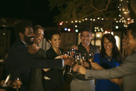 Friends toasting each other at party - CAIF04878