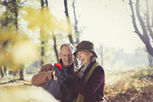 Smiling senior couple using cell phone in sunny autumn park - CAIF05312