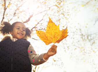Smiling girl holding orange maple leaf in sunny autumn park - CAIF05429