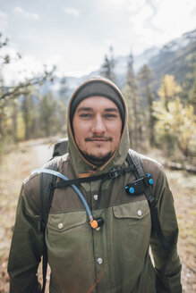 Canada, British Columbia, Mount Robson Provincial Park, portrait of smiling hiker - GUSF00434
