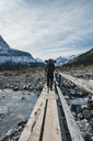 Canada, British Columbia, Mount Robson Provincial Park, man hiking on Berg Lake Trail - GUSF00437