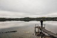 Canada, British Columbia, man fishing at Blue Lake - GUSF00491