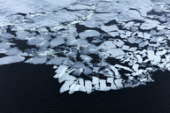 Aerial view ice forming on water, Devon, United Kingdom - CAIF05921