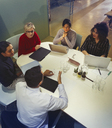 Business people talking, working in conference room meeting - CAIF06170