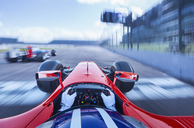 Personal perspective formula one race car driver speeding on race track - CAIF06463