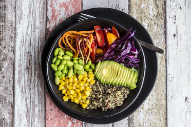 Quinoa veggie bowl of avocado, Edamame, tomatoes, corn, red cabbage and carrots - SARF03591