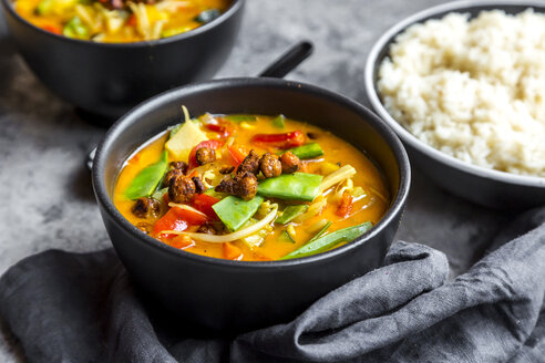 Red curry in bowls, rice - SARF03601
