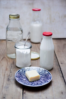Homemade liquid detergent, curd soap, washing soda and water - CZF00319