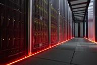 Red glowing panels in dark server room - CAIF07414