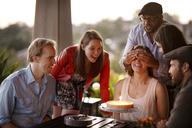 Happy friends celebrating birthday - CAVF02794