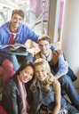 University students smiling in lounge - CAIF08215