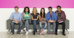 University students smiling on bench - CAIF08218