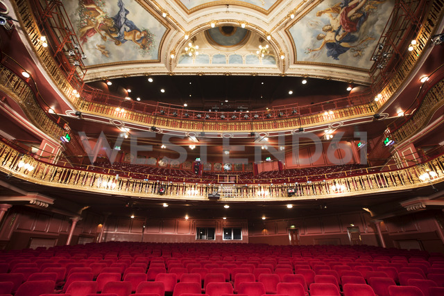 Balcony, seats and ornate ceiling in theater auditorium - CAIF08224
