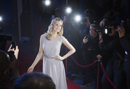 Well dressed female celebrity posing for paparazzi on red carpet - CAIF08365