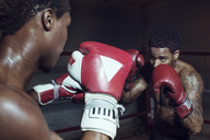 Male boxers practicing fighting in boxing ring - CAVF03521