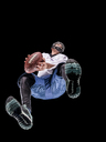 Athlete playing football, view from below - STSF01477