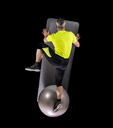 Man exercising with gymnastics ball, top view - STSF01481