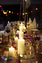 Lit candles on table at party - CAIF08467