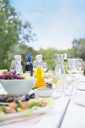 Plates of food on table outdoors - CAIF08500