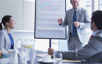 Businessman leading meeting at whiteboard flip chart in conference room - CAIF08959