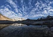 Greenland, Sermersooq, Kulusuk, Schweizerland Alps, mountains reflecting in water - ALRF00965