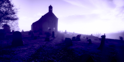 United Kingdom, Scotland, Fife, church, graveyard, fog - SMA00968