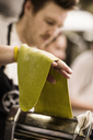 Close-up of chef making pasta at commercial kitchen - CAVF04529