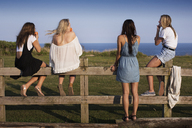 Rear view of friends by fence against sea - CAVF04631