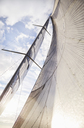 Sailboat sail against sunny sky - CAIF09431