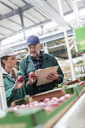 Manager with clipboard and worker examining red apples in food processing plant - CAIF09968