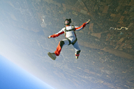 Aerial view of man skydiving - CAVF05213
