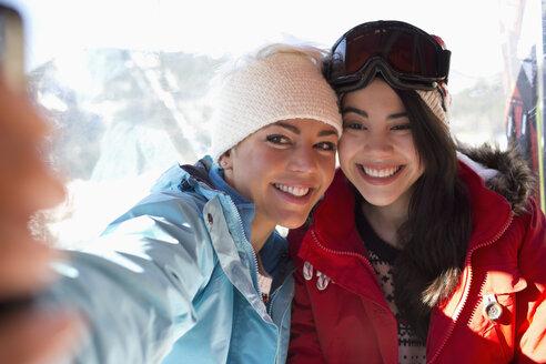 Friends in ski lift taking selfie - CAIF11023