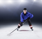 Portrait confident hockey player on ice - CAIF11143