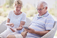 Senior couple using digital tablet - CAIF11374