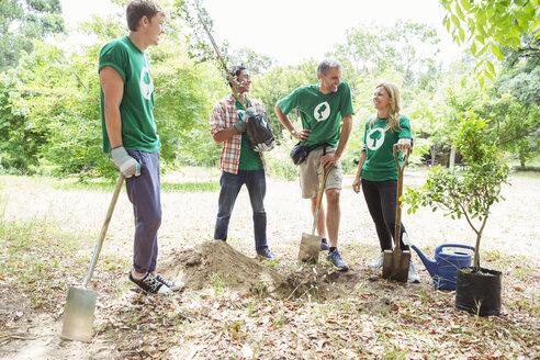 Environmentalist volunteers planting new tree - CAIF11982