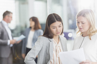 Businesswomen discussing paperwork in office - CAIF12087