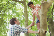 Father helping son climbing tree - CAIF12279