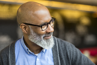 Portrait of bald man with grey beard wearing glasses - FMKF04904