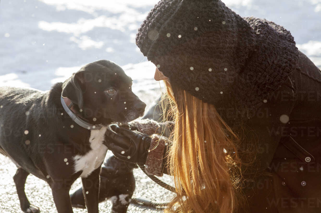 Woman with dog on snow covered field - CAVF06976 - Cavan Images/Westend61