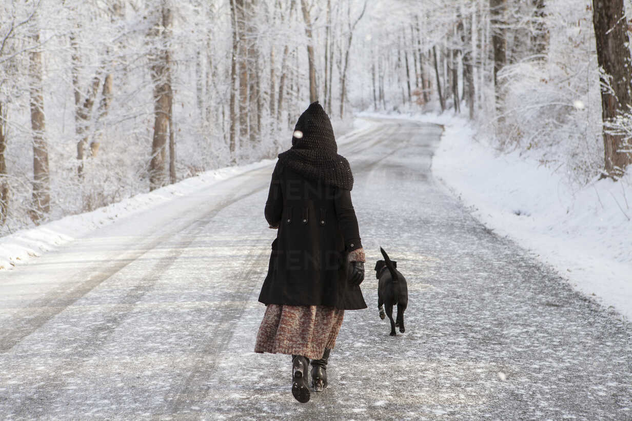 Rear view of woman walking with dog on road during winter - CAVF06979 - Cavan Images/Westend61
