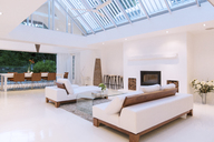 Sofas, fireplace and skylights in modern living room - CAIF15661