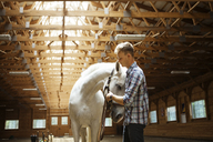 Rancher stroking white horse in stable - CAVF07664