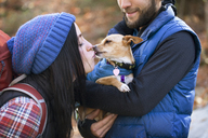 Woman kissing dog held by boyfriend while standing on field - CAVF07853
