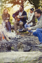 Friends playing guitar and cooking hot dogs at campfire - CAIF16015
