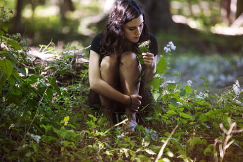 Teenage girl holding plant stem while sitting in forest - CAVF08183