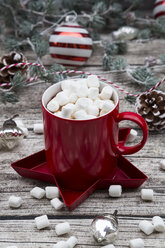 Hot Chocolate with marshmellows and christmas baubles - LVF06780