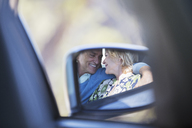 Side-view mirror reflection of couple hugging inside car - CAIF16910
