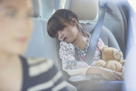Girl with teddy bear sleeping in back seat of car - CAIF16961