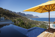 View of ocean from sunny patio with infinity pool - CAIF17091